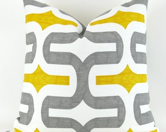Floor Pillow Cover, Yellow Gray & White, Euro Sham, Big Pillow, Decorator Pillow - up to 28x28 inch- Embrace by Premier Prints, corn/storm