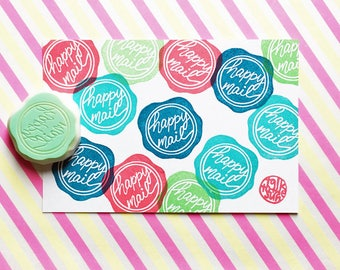 happy mail stamp   seal wax rubber stamp   packaging stamp for snail mail   diy gift wrapping   gift for her   hand carved by talktothesun