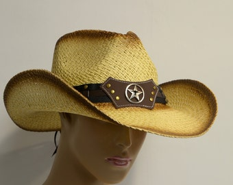 Fashion cowboy hat with rolled brim, duo-tone color staining and decorated with a STAR