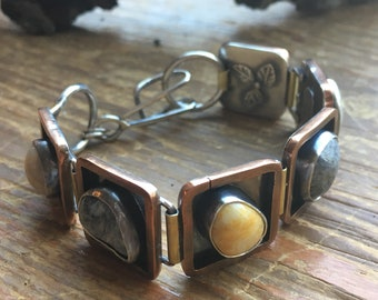 Beach stone pebble mixed metal artisan bracelet