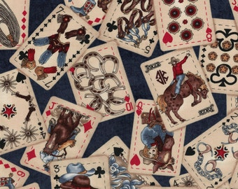 Hold 'em or Fold 'em Cowboy Fabric- 100% Cotton High Quality Fabric- by Maywood Studio