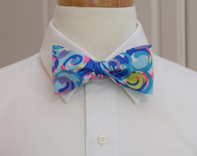 Men's Bow Tie, Gillty Pleasure blue/multi Lilly print, prom bow tie, wedding bow tie, Carolina Cup bow tie, Kentucky Derby, groom bow tie