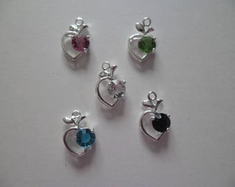 5 beautiful mixed pendants charms Apple 18 x 12 mm silver rhinestones