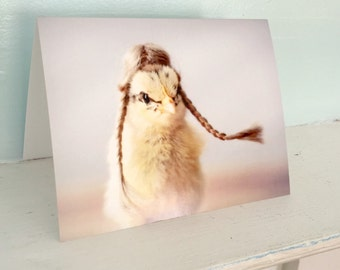 Chicken Card Baby Chick in Braids Funny Notecard Baby Animal Photo Greeting #60