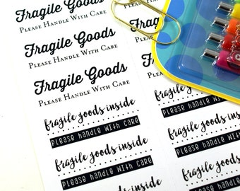 Fragile - Please handle with Care stickers - fragile goods inside - fragile stickers for shipping and packaging