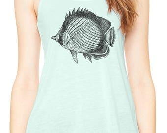 Austin Ink Apparel Tropical Butterfly Fish Womens Flowy Racerback Tank Top