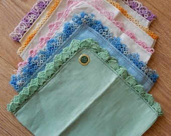 Vintage Lot of 5 Cotton & Linen Handkerchiefs Hankies w/ Tatted Edges    PD18