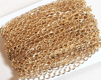 32ft spool Gold plated curb chain  4.5x3.2mm, bulk gold plated brass curb chain, light gold chain