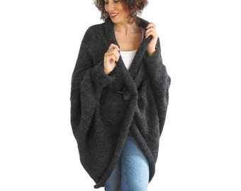 Plus Size Dark Gray Anthracit Over Size Wool Cardigan Poncho Outwear
