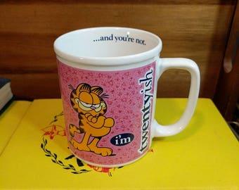 "Vintage Pink Garfield ""I'm twentyish... And you're not"" 1978 Enesco Mug"