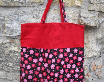 Fabric shoulder bag pattern cherry blossoms textured imported from Japan