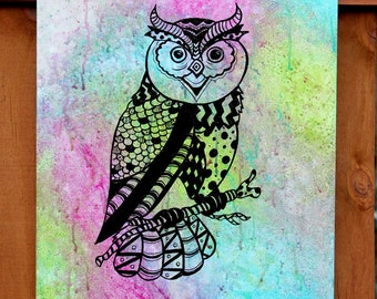 Patterned Watercolor Owl: Purple, Green, Turquoise