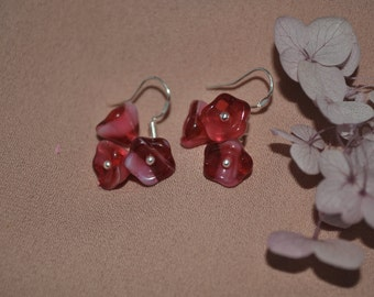 925 Sterling Silver with Czech Beads Flower Dangle Earrings