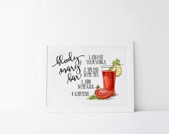 Bloody Mary Bar Print » 4x6 5x7 8x10 11x14 » Bar Wall Decor » Bloody Mary Bar Art » Party Decor » Bar Print » Kitchen Decor » Digital Print