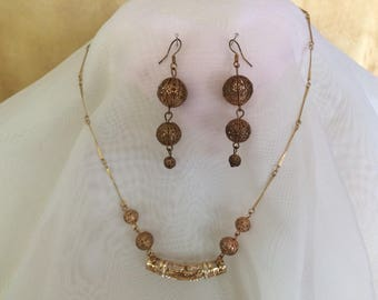 antique gold and rhinestone necklace/earring set