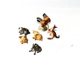 Set of 6 Mini Ceramic Animal Figurines
