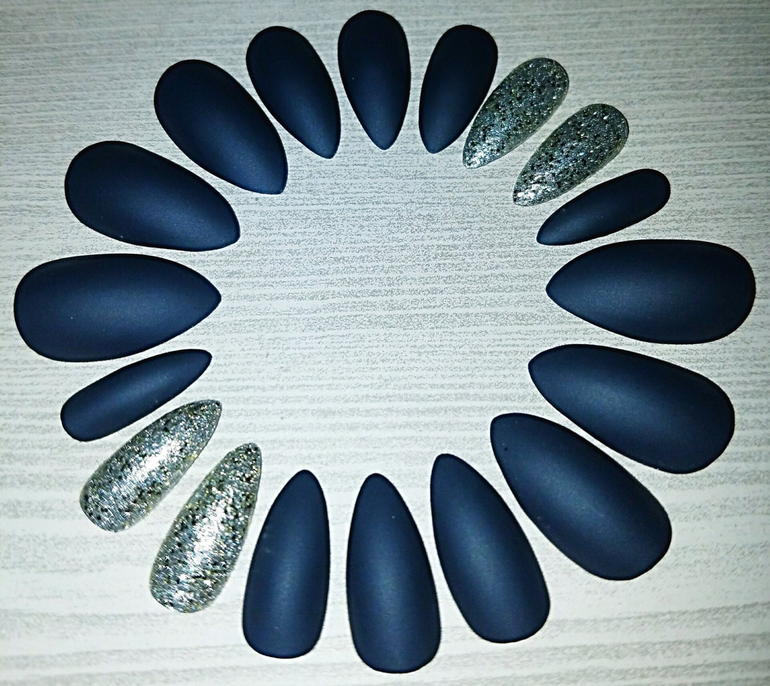 Navy and Silver Matte Stiletto Nails Press on Nails Glue on