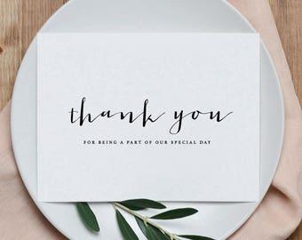 5 x Hochzeit danke Karten - vielen Dank dafür, ein Teil von unseren besonderen Tag, Hochzeit danken Ihnen Karten, Brautpaar danken Ihnen Karten, K4