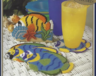 Tropical Fish Bucilla Plastic Canvas Kit 6290 Six Needlepoint Coasters and Holder Designed by Virginia & Michael Lamp Coaster Kit