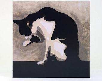Black and White Cat Card, Grooming Cat Greetings Card, Original Art Cat Card, Cat Birthday Card, Sitting Cat Blank Card, Square Cat Card