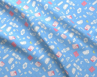 Period Fabric - Sanitary Napkin Blue By Kostolom3000 - Period Feminine Hygiene Tampon Pads Blue Cotton Fabric By The Yard With Spoonflower