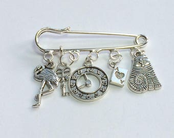 Alice in Wonderland Charm Pin/  Alice themed kiltpin brooch