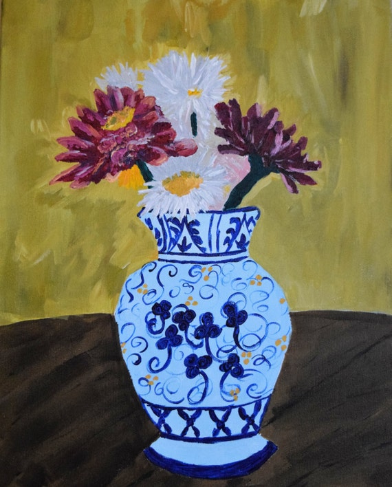 Painting, acrylic, Ode to Van Gogh Flowers in a Vase