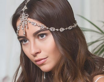 Silver Bohemian Headpiece, Wedding Hair Accessories, Bridal Headpiece, Boho Headpiece, indian headpiece, Bridal Hair Accessories, H240-S
