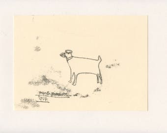 FIERCE DOG 2 - A Mono Print - Original Faye Moorhouse Illustration drawing art