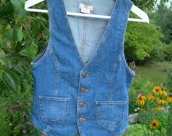 Vintage Jeans Denim Ladies Vest stretch with pockets Size Eur 36 /US 6 /CA 6/ CN 165/84A