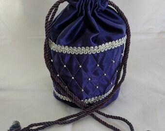 Purple Satin Quilted & Beaded Drawstring Purse - Renaissance