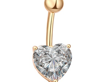 CZ Heart Belly Ring, Belly Button Ring, Belly Piercing, Belly Jewelry, Navel Ring, Gold Belly Ring, Gold Navel Ring