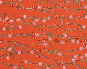 Chiyogami or yuzen paper - spring red plum blossoms, 9x12 inches