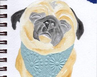 "Pug Print - Sketchbook Series - Watercolor & Collage - ""Fiddlesticks"""