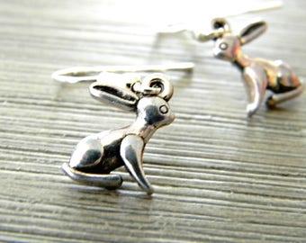 Silver Rabbit Earrings Dangle Earrings