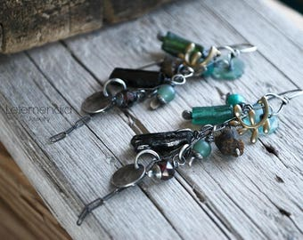 Olive Leaf Earrings Long Dangling Earrings Sterling Silver Gemstones Letemendia Jewelry Handmade Boho