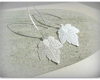 Silver Matte Filigree Leaf Earrings Leaf Charm Earrings Long Wishbone Dangle Earrings UK Shop Summer Accessories