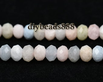 Morganite Faceted Rondelle Beads, Natural Faceted Rondelle, Rainbow, Grade AA, One strand, 15inches, 4x6mm