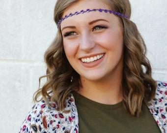 Purple Headband - Boho Headband - Forehead Headband - Hippie Headband - Halo Headband - Rosette Boho Headband - Adult Headband - Womens
