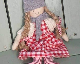 Handmade doll with a detachable gingham dress, homespun cloth doll
