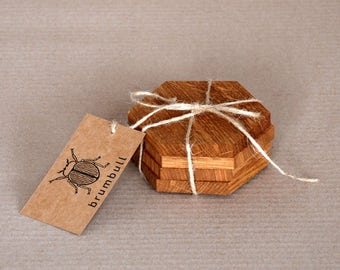 wood coasters, drink coasters | coaster set | wooden oak natural rustic country | hexagon epoxy