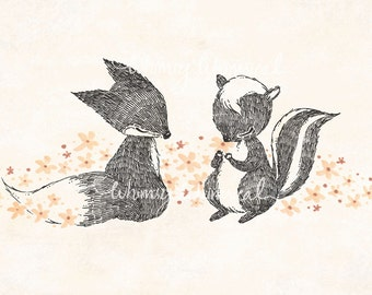 Happy Fox & Skunk - 5x7 Print