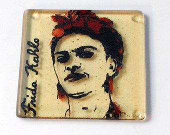 Frida Kahlo Fused Glass Coaster, Artist, Icon, Mexican, Feminist