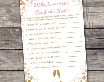 Pink and Gold Glitter Bridal Shower Game - Who Knows the Bride the Best Game - Pink - Instant Download Bridal-146