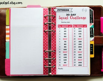 30 day squat challenge - fitness PERSONAL 2016 PRINTABLE planner inserts for filofax, kikki.K, organizer, life planner - Instant download