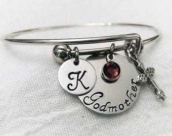 Personalized Godmother Bangle, Godmother Bracelet, Godmother Jewelry, Gift for Godmother, First Communion, Baptism Jewelry, Baptism Bangle