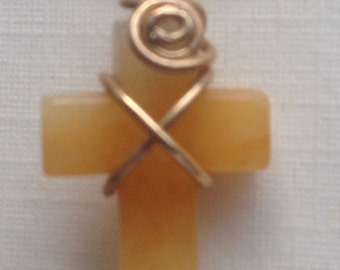 Natural Carnelian Carved Gemstone Cross Pendant, 14k Gold Filled Wire Wrapped Necklace