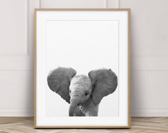 Elephant Print, Nursery Animal Wall Art, Baby Elephant Art, Safari Animal Prints, Black & White, Baby Animals, Nursery Decor, Printable Art