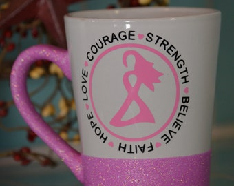 Breast Cancer Awareness Glitter Coffee Mug