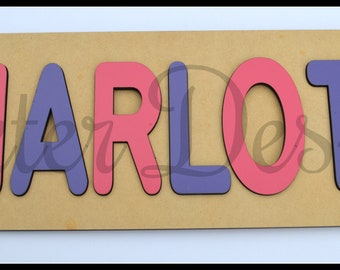 9 - 10 letter Name Kids Childrens Personalised Wooden Jigsaw Puzzle Gift Present Learning to spell